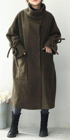 Green Thicken Long Woolen Coat Women Casual Outfits Q1966