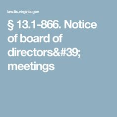 § 13.1-866. Notice of board of directors' meetings