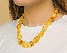 Baltic Amber Jewelry: Natural Amber Necklaces by AmberByTorvela Amber Necklace, Beaded Necklace, Necklaces, Baltic Amber Jewelry, Chain, Natural, Etsy, Beaded Collar, Pearl Necklace