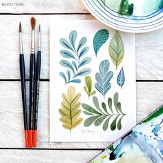 New painting simple green ideas Easy Watercolor, Watercolor Cards, Watercolor Illustration, Watercolor Flowers, Watercolor Paintings, Watercolors, Leaf Drawing, Painting & Drawing, Book Flowers