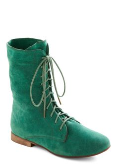 Lady in Rad Boot in Aqua - Green, Solid, Casual, Top Rated, Faux Leather, Lace Up, Low