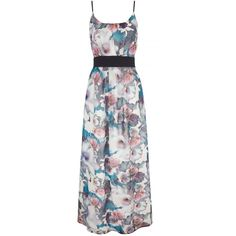 Uttam Boutique Cherry Blossom Print Maxi Dress with belt include ($105) ❤ liked on Polyvore featuring dresses, women, scoop neck dress, collar dress, floral dress, floral print maxi dress and pastel maxi dress