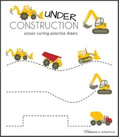 Construction Truck Scissor Cutting Practice Sheets (printable) These construction truck scissor cutting sheets will build the excitement of big machine lovin' kids with cutting fun while developing fine motor skills Preschool Learning, Early Learning, Fun Learning, Preschool Activities, Learning Shapes, Physical Activities, Dementia Activities, Preschool Art, Learning Spanish
