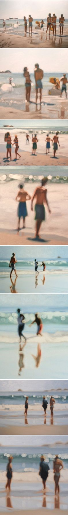 These paintings are by South African artist Philip Barlow. Realistic, but not… like an old, out of focus photograph. So lovely. Now, if you'll excuse me, I'm off to the beach! Idea for photography prints. Kreative Portraits, Kunst Online, South African Artists, Out Of Focus, Art Et Illustration, Wow Art, Amazing Art, Awesome, Contemporary Art