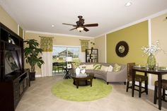 Traditional Living Room with Crown molding, flush light, Sunny Designs Espresso TV Console and Hutch, Carpet, Ceiling fan