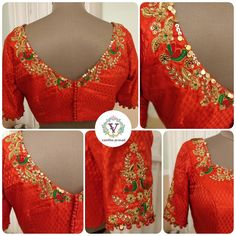 Chips and chirps. Stunning orange color designer blouse with floret lata and bird design hand embroidery thread kundan work on neck line and sleeves. Silk Saree Blouse Designs, Choli Designs, Bridal Blouse Designs, Sleeve Designs, Embroidery Neck Designs, Embroidery Thread, Designer Blouse Patterns, Lehenga Blouse, Work Blouse
