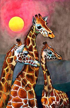 e80618422cc70 Articles similaires à Girafes gnostique (gracieuse africain créatures  illustré en or, Violet, fluo et marron Copic marker au lever du soleil) sur  Etsy