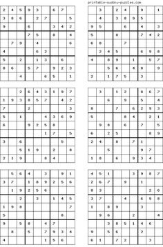 There are 4 sudoku puzzles per page. The printable sudoku puzzles pages below are listed in order of difficulty. If you are new to sudoku, start with an easy puzzle. Sudoku Puzzles, Logic Puzzles, Crossword Puzzles, Mazes For Kids, Printable Puzzles For Kids, Free Printables, English Worksheets For Kids, Fun Math Games, Puzzle Books