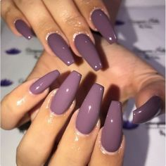 Nail art is a very popular trend these days and every woman you meet seems to have beautiful nails. It used to be that women would just go get a manicure or pedicure to get their nails trimmed and shaped with just a few coats of plain nail polish. Purple Nail Art, Purple Nail Polish, Polish Nails, Plum Nails, Purple Manicure, Dnd Gel Polish, Purple Acrylic Nails, Colourful Acrylic Nails, Light Purple Nails