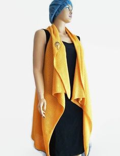 Free ship Mustard Oversized Knit Vest with Brooch, Open Tunic Women Vest Fall Women Winter, Women Vest Spring Fall Lady Knitting Shawl,  #knitting #glove #fingerless #winter #school #gift #handmade  GIFTS ON TIME!