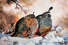 Quiet Romance, two Californian Quails from an original Painting by Roby Baer embroidered in long and short stitch by me.