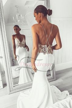 Looking for in , Mermaid style, and Gorgeous Lace work? Babyonlinewholesale has all covered on this elegant Sexy V-Neck Lace Spaghetti Strap Mermaid Wedding Dress Open Back Bridal Gown. Luxury Wedding Dress, Classic Wedding Dress, Cheap Wedding Dress, Backless Wedding, Gown Wedding, Spaghetti Strap Wedding Dress, Wedding Dresses With Straps, Bridesmaid Dresses, Spaghetti Straps