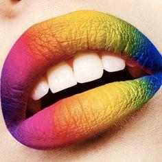 Luscious polychromatic lips used Sugarpill eyeshadows to create this fun, colorful look.