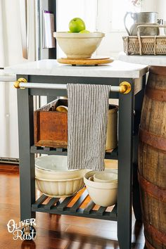 Ikea kitchen hacks // replicate this $1000 Williams Sonoma kitchen cart for about $300 by using IKEA stuff and paint.