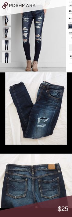 American Eagle Ripped Jeans Stylish ripped jeans from American Eagle in excellent condition. The jeans I am selling do have patches covering the inside of the upper rips but these could be easily removed. American Eagle Outfitters Jeans Skinny