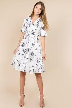 b21d1a4f6032 Classy Short Sleeve Midi Bamboo Print Dress