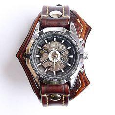 Pánske nesymetrické hodinky hnedé