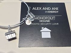 AUTHENTIC ALEX & ANI MONOPOLY HOUSE CHARM EXPANDABLE BANGLE IN RUSSIAN SILVER - http://designerjewelrygalleria.com/alex-ani/authentic-alex-ani-monopoly-house-charm-expandable-bangle-in-russian-silver/