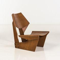 Piasa Grete Jalk (1920-2006) Laminated chair Chaise Pin Edition P. Jeppesens Møbelfabrik A/S Etiquette Illums...