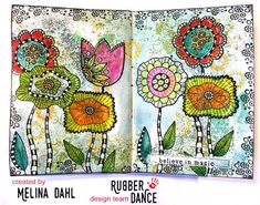* Rubber Dance Blog *: New Stamps - Release Sale! Art Journal page with Crazy Flowers
