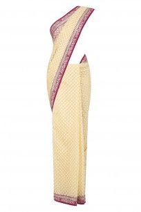 Tuscany Mughal Rose Buti Cutwork Saree with Dark Pink Embellished Blouse Piece  Ivory Abla Floral Embroidered Saree with Ivory Lurex Kanthi Blouse Piece  #sabyasachi #embroidered #heritage #indianfashion #traditional #beauty #ppus #happyshopping