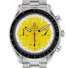 Original and rare stainless steel Omega Speedmaster Automatic chronograph wristwatch. Round case in stainless steel, screwed caseback, smooth pushers, black aluminium tachometer bezel, canned crown. Beautiful and rare yellow lacquered dial, three counters blue, hours totalizer at 6 o'clock, minutes totalizer at 9 o'clock, small second at 3 o'clock, railroad type minuterie, automatic movement. Applied baton hour marker, tapered hands. Stainless steel bracelet, folding clasp in stainless steel…