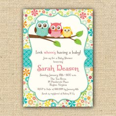 Items similar to Owl Baby Shower Invitations - DIY Printable Invitations - FREE Matching Favor Tags on Etsy Baby Shower Cakes, Baby Shower Parties, Baby Shower Themes, Shower Ideas, Baby Shower Fall, Girl Shower, Fall Baby, Gender Reveal Party Invitations, Baby Shower Invitations