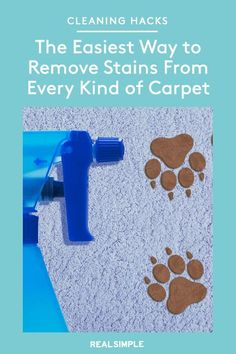 The Easiest Way to Remove Stains From Every Kind of Carpet | Follow our carpet cleaning guide to find out which combination of ingredients is best for your type of stain and your type of carpet. Follow these recipes for homemade carpet cleaners exactly and your rug will be stain-free once again. #organizationtips #realsimple #howtoclean #cleaningtips #cleaninghacks