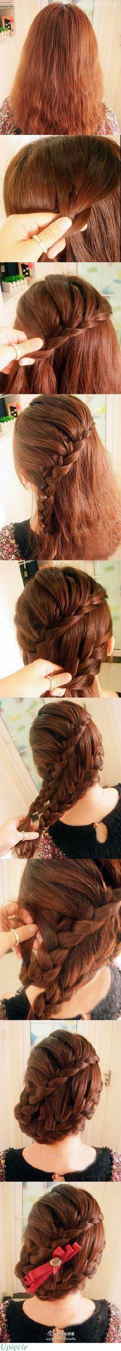 step by step braided updo    - I love this!! <3 gonna do this tmrw :>