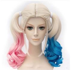 HOT!! 2016 Free Shipping Harleen Quinzel Harley Quinn Cosplay Wig Styled Curly Synthetic Ponytail Wig Heat Resistant Hair Wigs