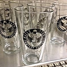 Fantasy Football glasses. Fantasy Football, Pint Glass, Beer, Glasses, Tableware, Root Beer, Eyewear, Dinnerware, Beer Glassware