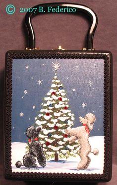 Hand pt'd Poodle Christmas Cigar Box Purse by B. Federico