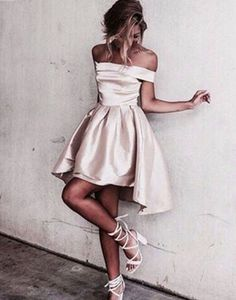 Simple off shoulder short prom dress, cute homecoming dress for teens