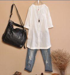 White linen Blouse T Shirt White Shirt Women Girl by fashiondress6, $63.00