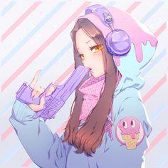 Anime girl with a plastic gun illustration Cool Anime Girl, Beautiful Anime Girl, Kawaii Anime Girl, Anime Art Girl, Anime Girls, Manga Girl Drawing, Anime Girl Drawings, Fan Art Anime, Anime Artwork