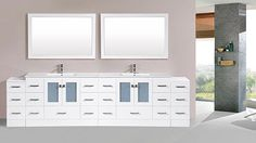 120 inch Redondo White Double Modern Bathroom Vanity with 2 Side Cabinets and Integrated Sinks and Mirrors Modern Vanity, Modern Bathroom, Free Standing Vanity, Double Vanity, Home Remodeling, Bathroom Vanities, Sinks, Cabinets, Collection