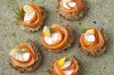 Potato Rostis With Smoked Salmon and Dill Creme