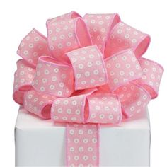 """Light pink ribbon with white circles accented with glitter and pink sewn wired edge.1 1/2"""" W x 20 yards. Princess Crafts, Pink Wedding Colors, Wired Ribbon, Girls Bows, Bridal Flowers, Floral Crown, Circles, Yards, Dots"""