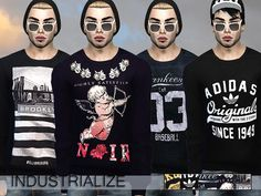 Industrialize 3 Pack Sweatshirts by Pinkzombiecupcakes at TSR via Sims 4 Updates
