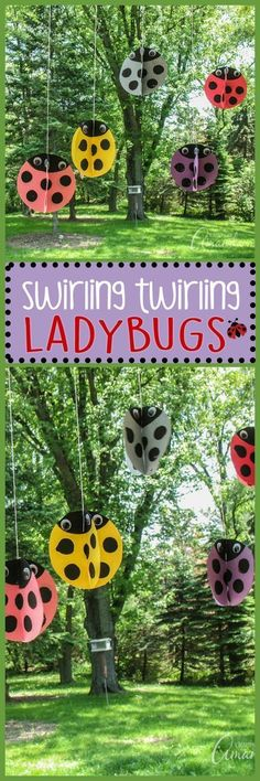 These adorable twirling ladybugs are a great summer kid's craft! #summerart #ladybugs #kidcraft #nature