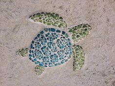Sea turtle sea glass art