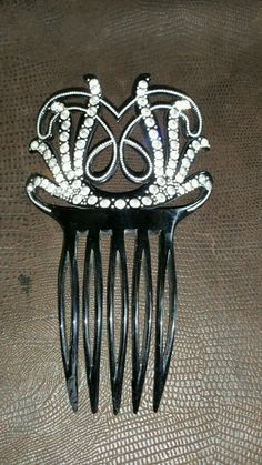 Vintage Large Art Deco Hair Comb Black with Rhinestones Signed Riviera | eBay