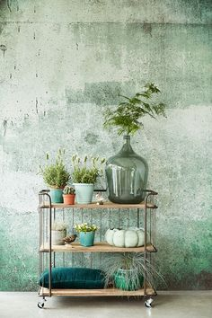 Incroyable papier peint par // Amazing wallpaper by Wabi Sabi, Look Wallpaper, Amazing Wallpaper, Green Wallpaper, Interior Styling, Interior Design, Deco Nature, Industrial Interiors, Home And Deco