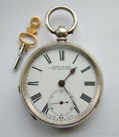 Antique Kendal & Dent silver pocket watch, 1887