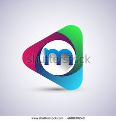 M letter colorful logo in the triangle shape, font icon, Vector design template…