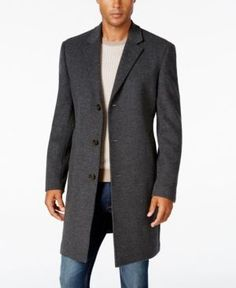 Lauren Ralph Lauren Men's Luther Cashmere-Blend Overcoat - Medium Grey 44S