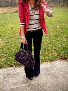 Pink Blazer, Stripe Sweater & Jeans