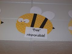 First Grader...at Last!: The Five Bees Promise Cute decor with classroom rules, blog also has good behavior plan with bee theme