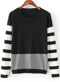 Black Long Sleeve Striped Knit Sweater