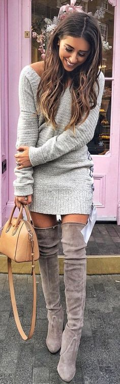 Super cute and stunning sweater dress and over the knee boots. Grays look great against a tan! | Stylish outfit ideas for women who love fashion. Brought to you from Zefinka Women's Clothing store. #fashiondressescasual